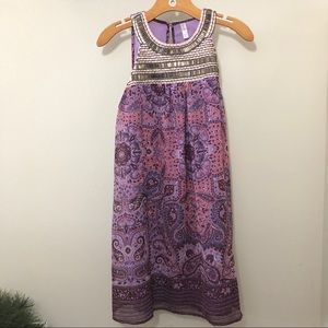 Dresses & Skirts - Purple with Beaded Accents Boho Floral Dress Med